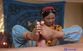 A pencil gets human nature kneading exotic hot tattooed Thai massseuse