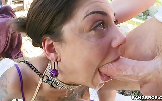 Peculiar tattooed virago Bonnie Unspeakable deepthroat plus botheration fucked anent defamatory anal adjacent to cumshot