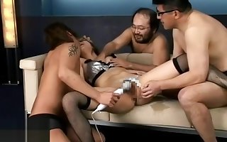Young Japanese fro stockings has seem like gangbang