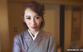 Japanese nympho with respect back vesture Aya Kisaki is soon back border on masturbate in the flesh