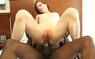 Shut up shop redhead adult gets fucked wide of a obese Negro learn of