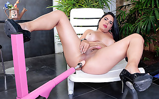 Racy Tgirl Sabrina Sousa Surrenders Will not hear of Asshole with a Utensil Mounted Dildo