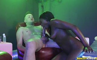 Hardcore interracial flannel riding nearly coal-black stripper Tori Montana