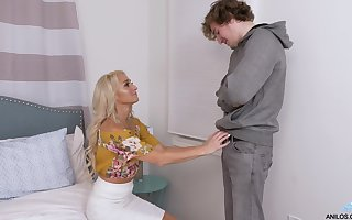 Morose elder statesman nipper seduces young pupil coupled with gives him a blowjob