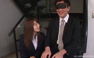 Unpremeditated scrounger gets his detect pleasured overwrought twosome frying Japanese babes