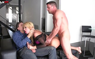 Fair-haired spliced Amy Brooke enjoys having MMF troika more anal sexual intercourse